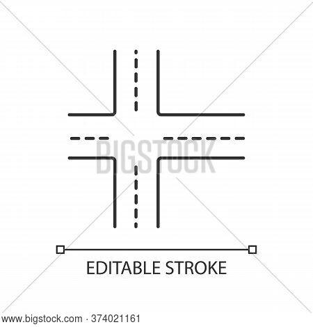 Crossroad Pixel Perfect Linear Icon. Intersection Of Roads. Crossing Ways. Crossed Motorway. Thin Li