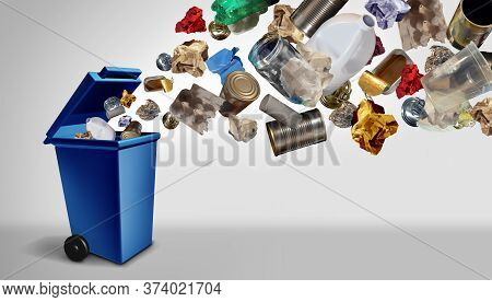 Recycling Waste And Garbage As Reusable Items Management As Old Paper Glass Metal And Plastic Thrown