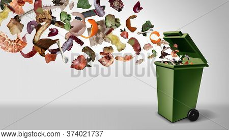 Organic Compost Waste And Composted Food And Composting Pile Of Rotting Kitchen Scraps With Fruits A