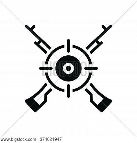 Black Solid Icon For Marksman Sharpshooter Tirailleur Target Gun