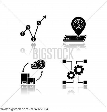 Country Economics Drop Shadow Black Glyph Icons Set. Gross Domestic Product, Outsorting And Industry