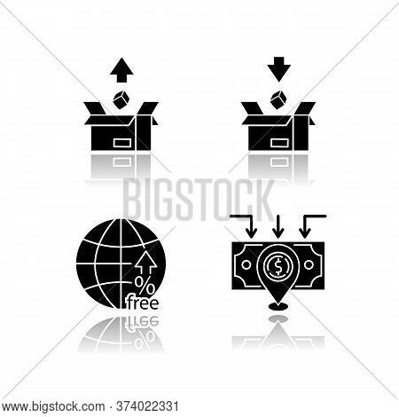 International Trade, Customs Taxes Drop Shadow Black Glyph Icons Set. Export And Import Tariffs, Non