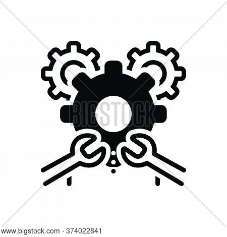 Black Solid Icon For Machinist Setting Tool Repair Maintenance Machinery