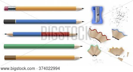 Sharpened Colorful Pencils Stationery Set And Sharpener