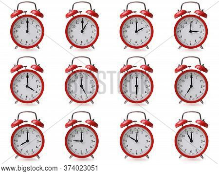 Compilation Of Alarm Clocks With Different Time Settings From One Hour To Twelve Concept