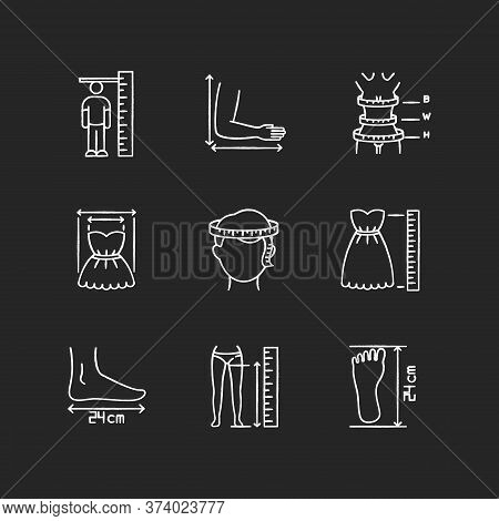 Tailor Measurements Chalk White Icons Set On Black Background. Human Body Proportions And Product Di