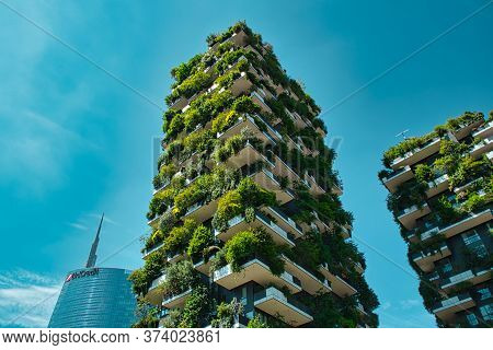 Milan, Italy, 06.29.2020: Vertical Forest (bosco Verticale) Innovative Green House Skyscraper Repres