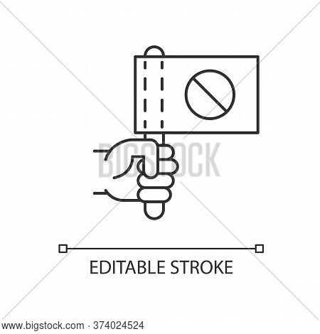 Activist Pixel Perfect Linear Icon. Hand Holding Flag With Stop Sign. Protester Rally. Thin Line Cus