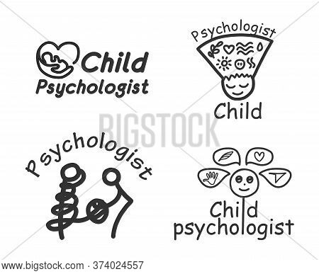 Logo. For A Family, Child, Or Online Psychologist. Various Spellings. Psychological Help. Set Of Bla