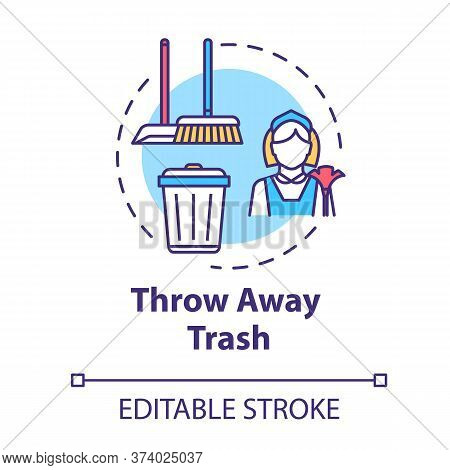 Throw Away Trash Concept Icon. Housework And Cleanliness. Cleaning House. Put Garbage In Bin. Housek