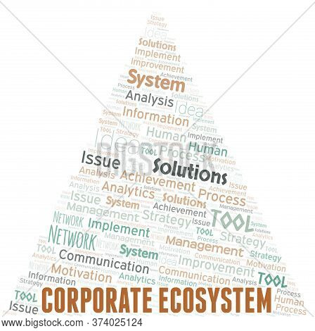 Corporate Ecosystem Typography Vector Word Cloud. Wordcloud Collage Made With The Text Only.