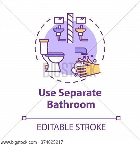 Use Separate Bathroom Concept Icon. Self-isolation Measure. Different Lavatory. Restroom For Hygiene