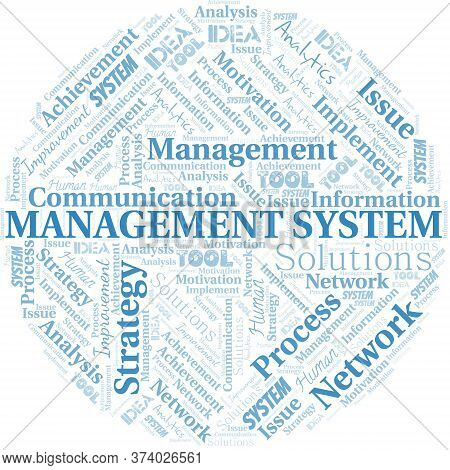 Management System Typography Vector Word Cloud. Wordcloud Collage Made With The Text Only.