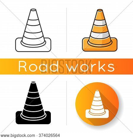 Traffic Cone Icon. Roadworks Caution. Pedestrian Sign For Constructions Warning. Reconstruction Bloc