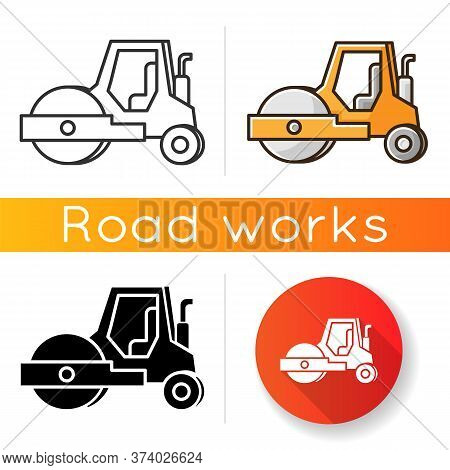 Road Roller Icon. Compactor Type Vehicle For Construction Works. Roadworks Transportation. Heavy Mac