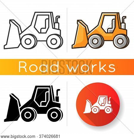Bulldozer Icon. Road Works Industrial Truck. Dozer For Ground Loading. Excavator For Construction. A
