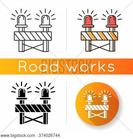 Roadblock With Siren Icon. Construction Works Ahead Warning. Caution Barrier For Attention On Road.