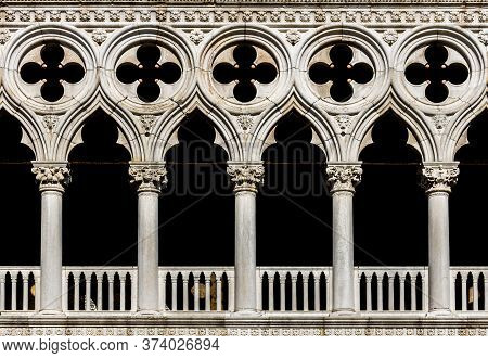 Detail Of Doge's Palace (palazzo Ducale) Facade In Venice, Italy, Front View Closeup
