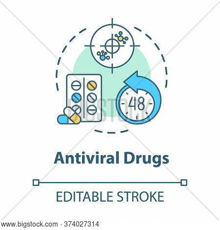 Antiviral Drug Concept Icon. Antibiotic For Flu. Tablets For Disease. Medication For Illness. Influe