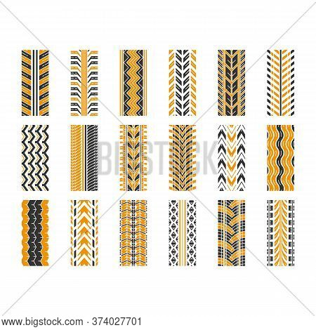 Tire Tread Black And Yellow Rgb Color Icons Set. Detailed Automobile, Motorcycle, Bike Tyre Marks. C