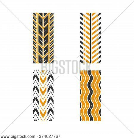 Track Patterns Black And Yellow Rgb Color Icons Set. Detailed Automobile, Motorcycle, Bike Tyre Mark