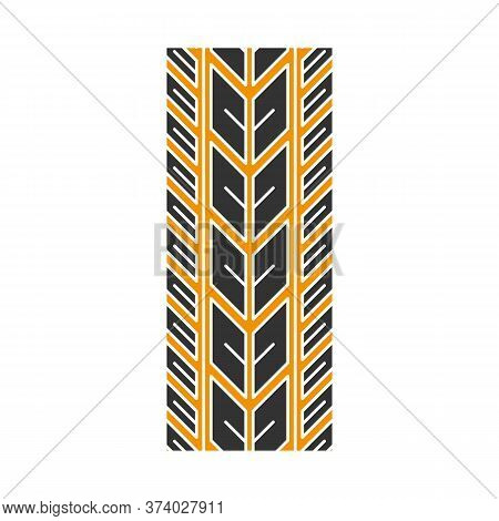 Track Marks Black And Yellow Rgb Color Icon. Detailed Automobile, Motorcycle Street Tyre Traces. Dir
