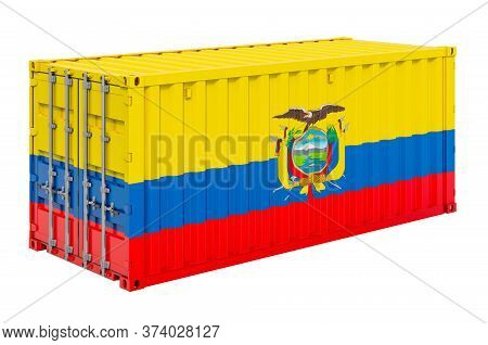 Cargo Container With Ecuadorian Flag, 3d Rendering Isolated On White Background