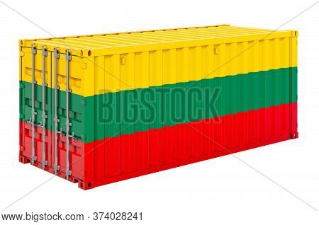 Cargo Container With Lithuanian Flag, 3d Rendering Isolated On White Background