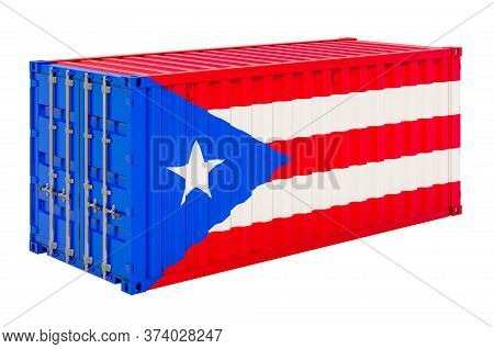 Cargo Container With Puerto Rican Flag, 3d Rendering Isolated On White Background