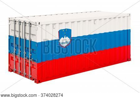 Cargo Container With Slovenian Flag, 3d Rendering Isolated On White Background