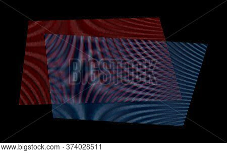Moire Effect By Two Overlapping Red And Blue Line Patterns. Moiré Or Interference Pattern On White B