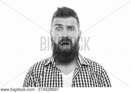 Beyond Belief. Wondering Concept. Handsome Surprised Man Wonder. Surprised Guy Bristle And Hairstyle