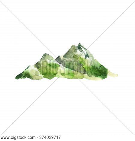 Watercolor Mountains. Hand Drawn Illustration Of Landform With Peak. Summer Landscape Isolated On Wh