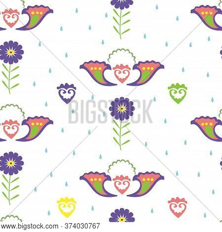 Seamless Vector Pattern With Ornament Of Flowers. Ethnic Ornament With Flowers. Tatar Ornament. Patt