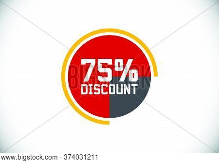 75% Off Discount Promotion Sale Brilliant Poster. Sale And Discount Labels. Price Off Tag Icon. Spec