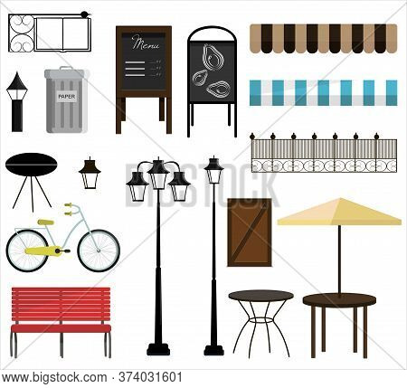 A Set Of Vector Items For Street, Park Or Garden Design. Bench, Bicycles, Fence, Awnings, Street Lam