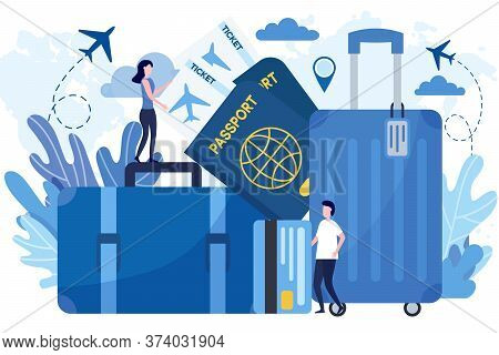 Flat Vector Illustration Of Travel Prepare, Baggage, Suitcase, Passport, Flight Ticket. Concept Of P