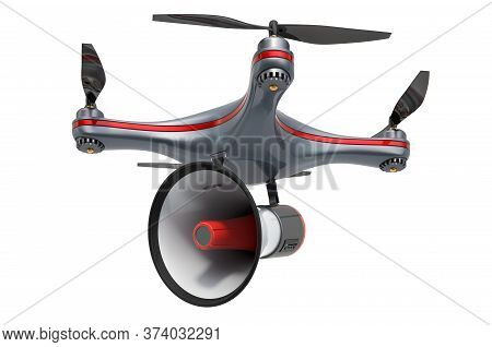 Drone With Bullhorn, 3d Rendering Isolated On White Background
