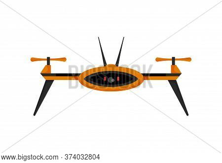 Drone. Air Drone Hovering. Aerial Vehicle. Unmanned Aircraft. Modern Air Gadjet, Quadrocopter On Rem