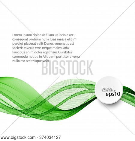 Abstract Green Wave Vector Background, Horizontal Wavy Wave Lines On White Background