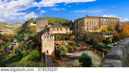 Travel and landmarks of Spain in Andalusia - Granada , splendid Alhambra complex and fortress
