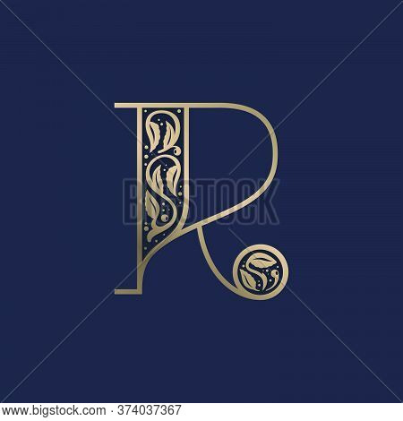 Vintage R Letter Logo With Premium Decoration. Classic Line Serif Font. Vector Icon Perfect To Use I