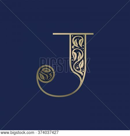 Vintage J Letter Logo With Premium Decoration. Classic Line Serif Font. Vector Icon Perfect To Use I