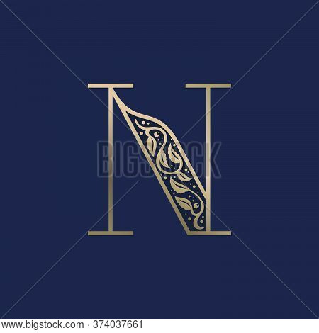 Vintage N Letter Logo With Premium Decoration. Classic Line Serif Font. Vector Icon Perfect To Use I