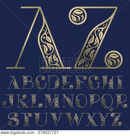 Vintage Alphabet With Premium Decoration. Classic Line Serif Font. Vector Icon Perfect To Use In Any