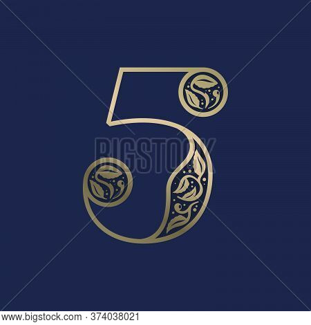 Vintage Number Five Logo With Premium Decoration. Classic Line Serif Font. Vector Icon Perfect To Us