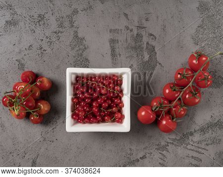 Organic Red Health Food. The Gray Background.