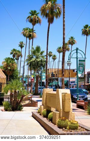 June 22, 2020 In Palm Springs, Ca:  Retail Stores And Restaurants At The Main Downtown Busy Street S