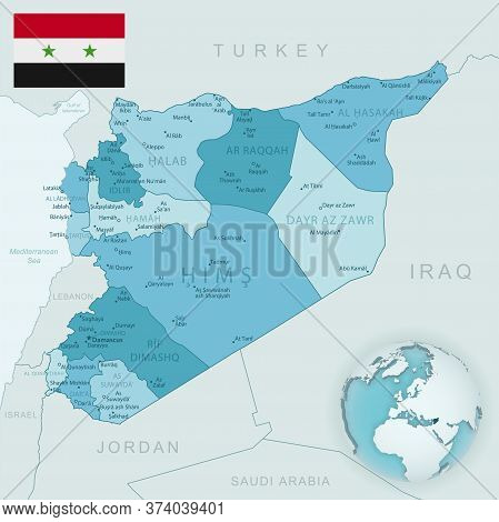 Blue-green Detailed Map Of Syria Administrative Divisions With Country Flag And Location On The Glob