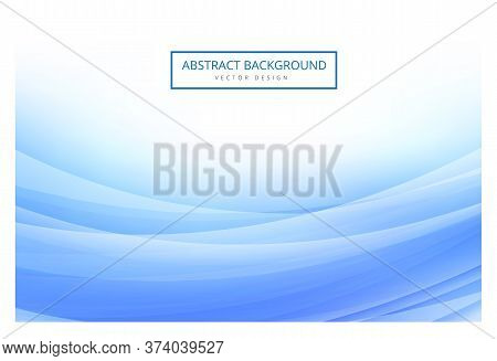 Abstract Blue Wavy With Light Curved Lines Background. Abstract Background Vector Illustration